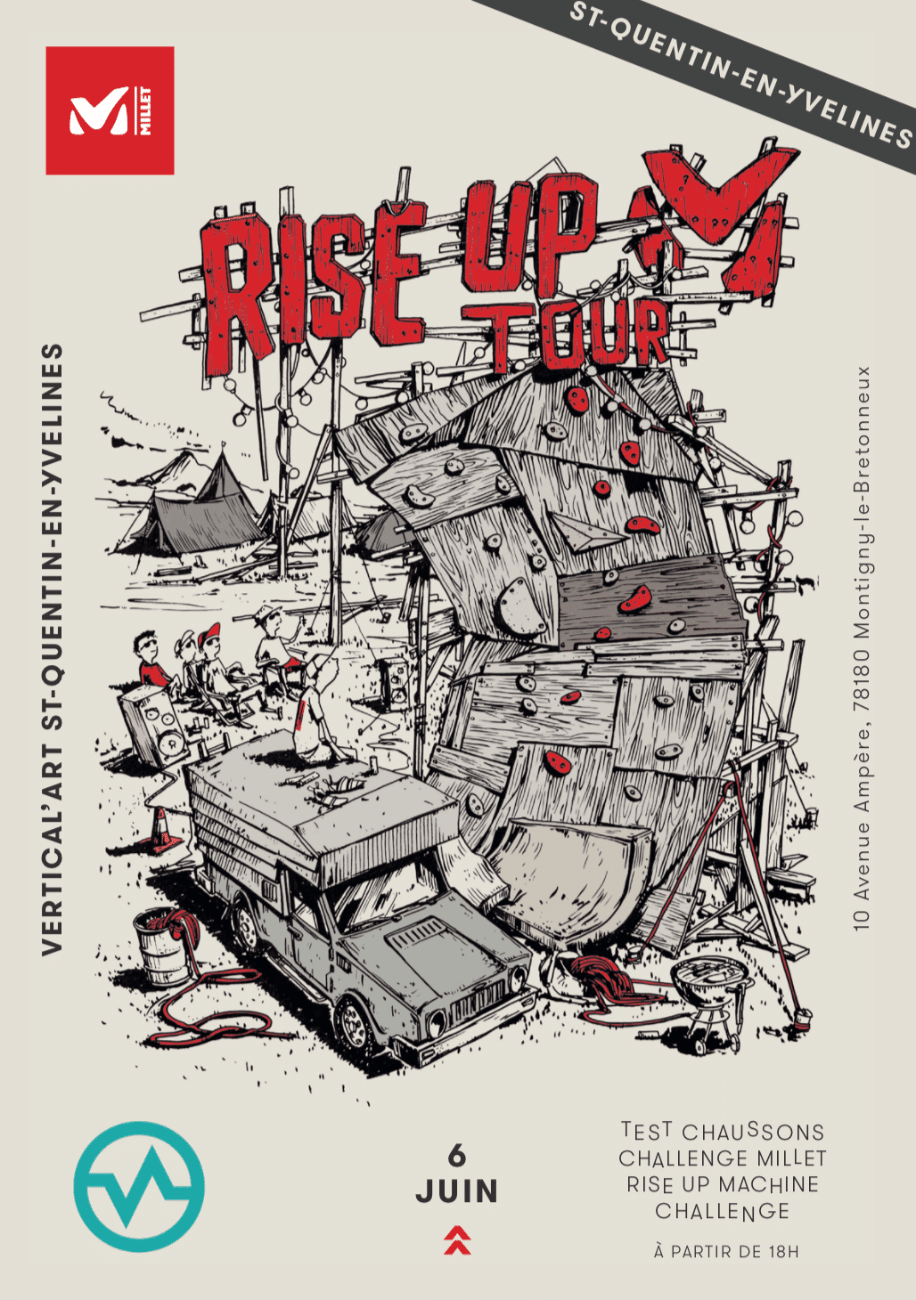 rise up millet à vertical'art / saint quentin en yvelien / paris / salle d'escalade de bloc / restaurant / bar / grimper / chaussons / test / challenge / lot à gagner