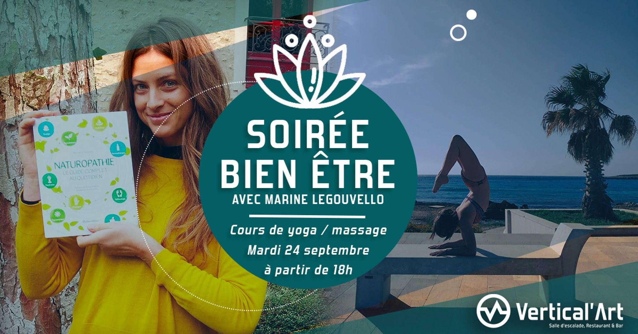 - yoga - Marine legouvelo - naturopaths - massage - soirée - soirée bien être à Vertical'Art - Saint-Quentin-En-Yvelines-en-yvelines - salle d'escalade de bloc - restaurant bar