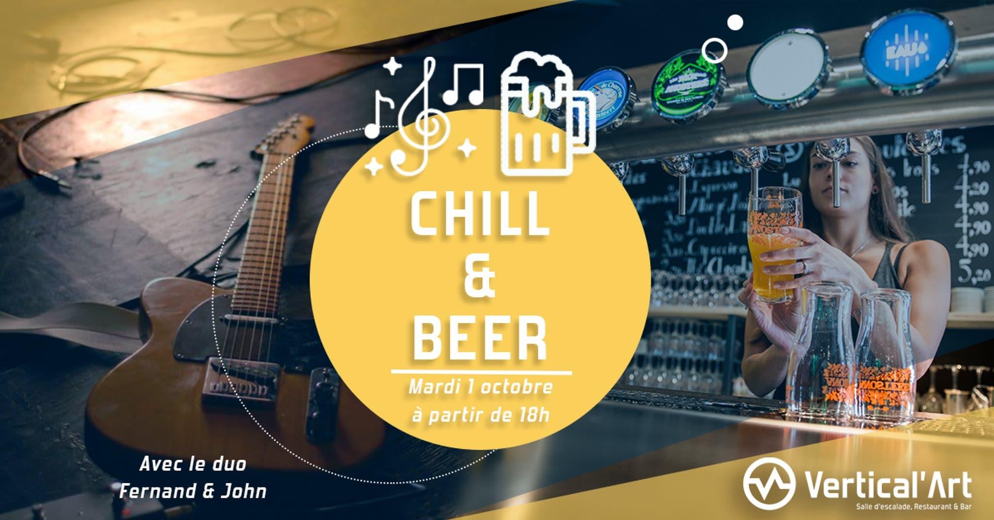 chill & beer - saison - Vertical'Art saint-quentin-en-yvelines - salle d'escalade - restaurant - bar - concert - bières