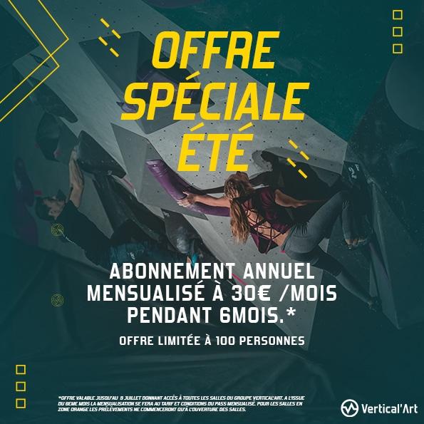 offre spéciale été chez Vertical'Art Nantes, Lille, Lyon , Saint-Quentin_en_Yvelines, Rungis et Pigalle salle d'escalade restaurant et bar