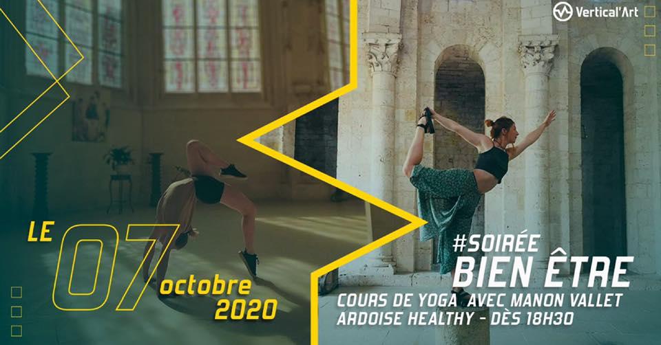 soirée bien-être avec cours de yoga et ardoise healthy à Vertical'Art Saint-Quentin-en-Yvelines