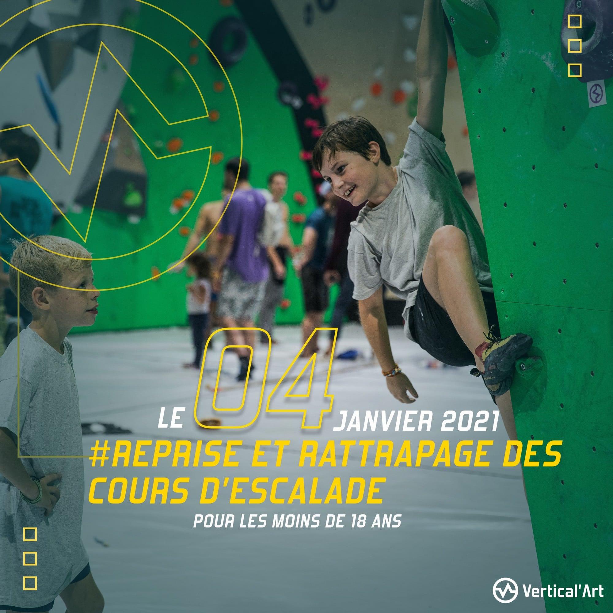 Reprise et rattrapage des cours d'escalade pour les mineurs le 4 janvier à Vertical'Art Saint-Quentin-en-Yvelines