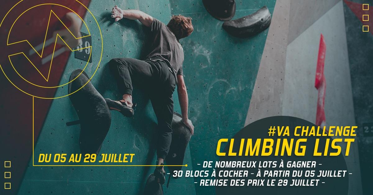 Climbing list à Vertical'Art Saint-Quentin-en-Yvelines du 05/07 au 29 juillet, de nombreux lots à gagner