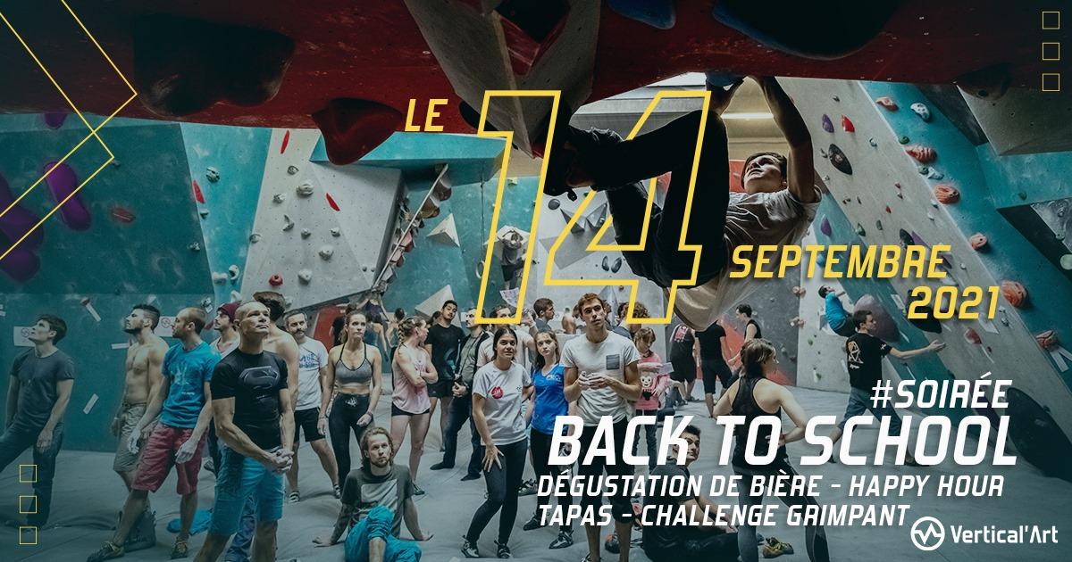 Soirée Back to School mardi 14 septembre 2021 à Vertical'Art Saint-Quentin-en-Yvelines, dégustation de bières, happy hour, tapas et challenges bloc
