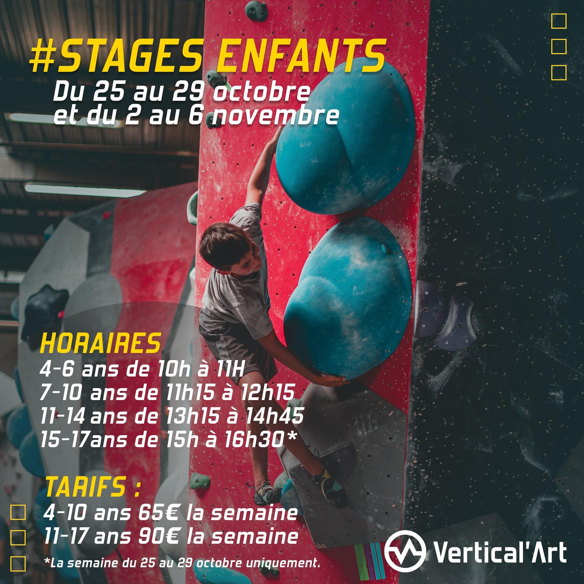 Stages enfants vacances de la Toussaint à Vertical'Art SQY, du 25 au 29 octobre et du 02 au 06 novembre, inscriptions ouvertes